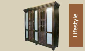 Robe with sandblasted glass doors